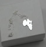 Outline Africa Map Necklace With Heart