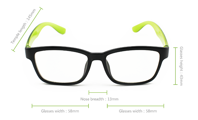 Vision Anti Blue Light Glasses Dimensions