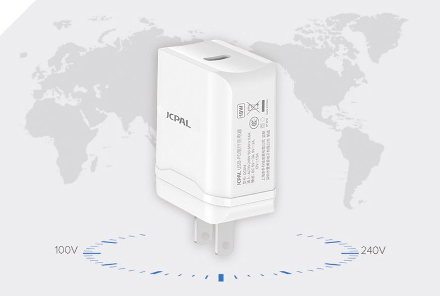 USB-C PD Charger with Worldwide Compatibility