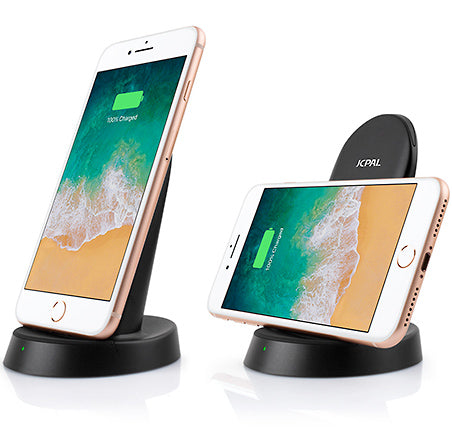 The JCPal 10W Wireless Fast Charge Stand allows charging in both horizontal or vertical positions