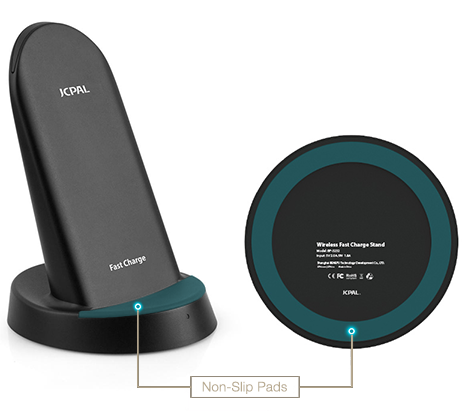 The Wireless Fast Charge Stand features non-slip silicone pads to prevent movement