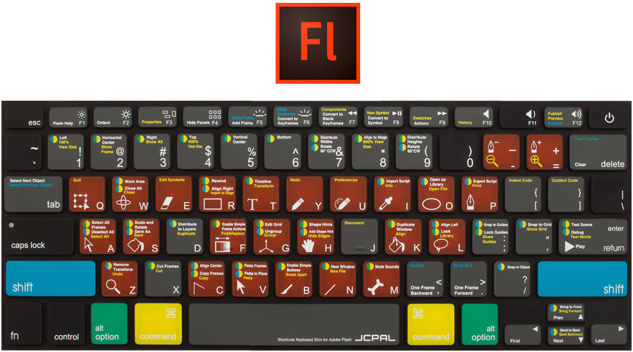 JCPal VerSkin Shortcut Keyboard Protector for Adobe Flash Pro