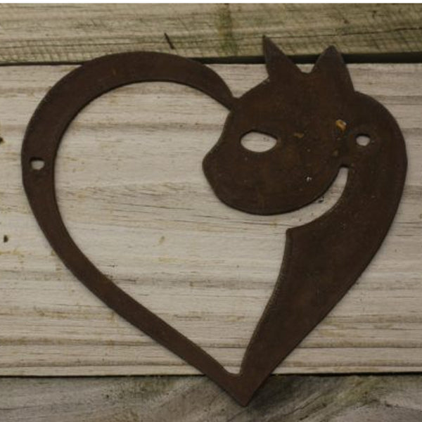 Heart Cat- made from rusty steel (16cm x 16cm) - Da Vinci Chalk Paint & Rustic home decor