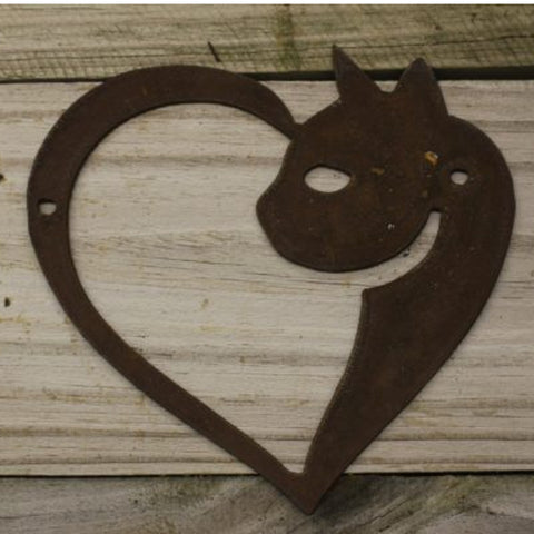 Heart Cat- made from rusty steel (18cm x 17cm) - Da Vinci Chalk Paint Creative painting