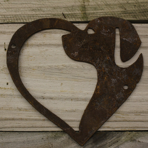 Heart Dog- made from rusty steel (16cm x 16cm) - Da Vinci Chalk Paint & Rustic home decor