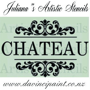 Chateau with ornamental bracket vintage premium paint stencil 250mm x 381mm - Da Vinci Chalk Paint Creative painting