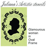 Victorian Lady in oval frame french artistic Stencil 250mm x 180mm - Da Vinci Chalk Paint Creative painting