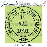 Eiffel Tower 1901 Postage stamp paint furniture Stencil 180mm diameter - Da Vinci Chalk Paint Creative painting