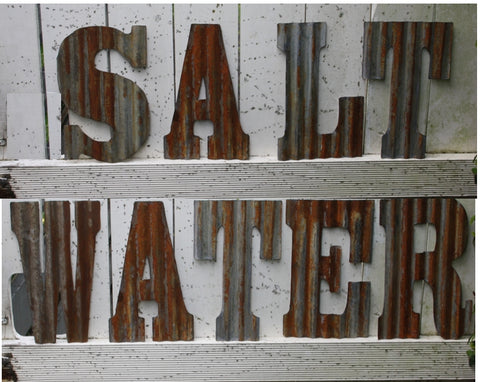 "12"" (305mm) Rusty Corrogated iron letters and Numbers - Da Vinci Chalk Paint Creative painting"