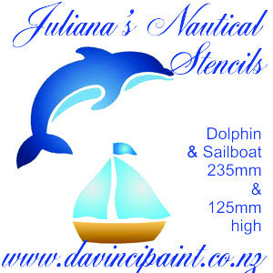 Dolphin & Sailboat furniture paint stencil  (235mm & 125mm high) - Da Vinci Chalk Paint Creative painting