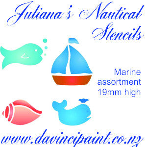 Marine assortment furniture paint stencil  (each figure 19mm high) - Da Vinci Chalk Paint Creative painting