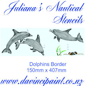 Dolphins border furniture paint stencil  (150mm x 407mm ) - Da Vinci Chalk Paint Creative painting