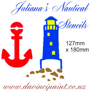Anchor & Lighthouse furniture paint stencil 127mm x 180mm - Da Vinci Chalk Paint & Rustic home decor