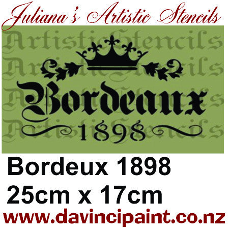 Bordeaux 1898 French Provence premium paint stencil 250mm x 165mm - Da Vinci Chalk Paint & Rustic home decor