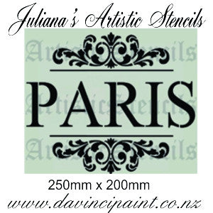 PARIS in ornate scroll furniture premium paint stencil 250mm x 200mm - Da Vinci Chalk Paint Creative painting