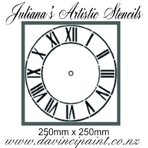 Clock face roman numerals furniture premium paint stencil 250mm diameter - Da Vinci Chalk Paint Creative painting