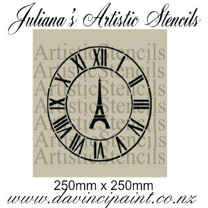 Clock face & eiffel tower roman numerals furniture premium paint stencil 250mm diameter - Da Vinci Chalk Paint Creative painting
