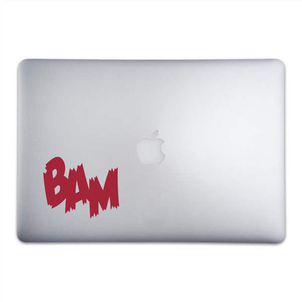 BAM Onomatopoeia Sticker for MacBooks and Apple Devices On A 15-Inch Macbook Pro