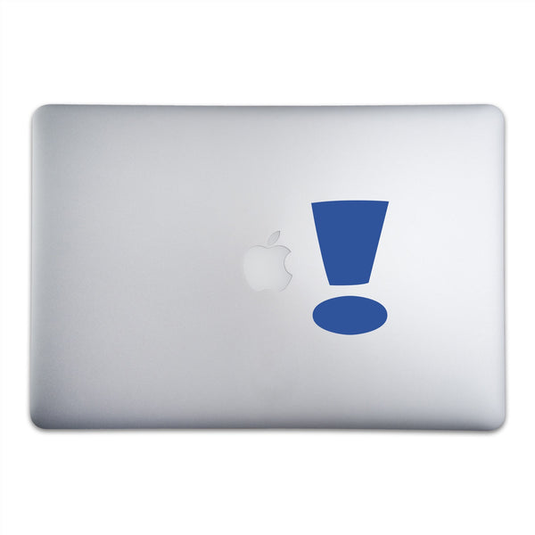 Exclamation Point Sticker for MacBooks and Apple Devices On A 15-Inch Macbook Pro