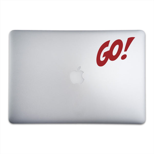 GO! Sticker for MacBooks and Apple Devices On A 15-Inch Macbook Pro