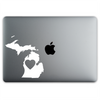 Michigan Love Sticker On A 12-Inch Macbook