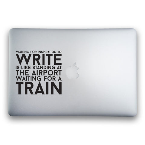 Waiting for Inspiration to Write sticker for MacBook, MacBook Air and MacBook Pro - Whipps Sticker Co.
