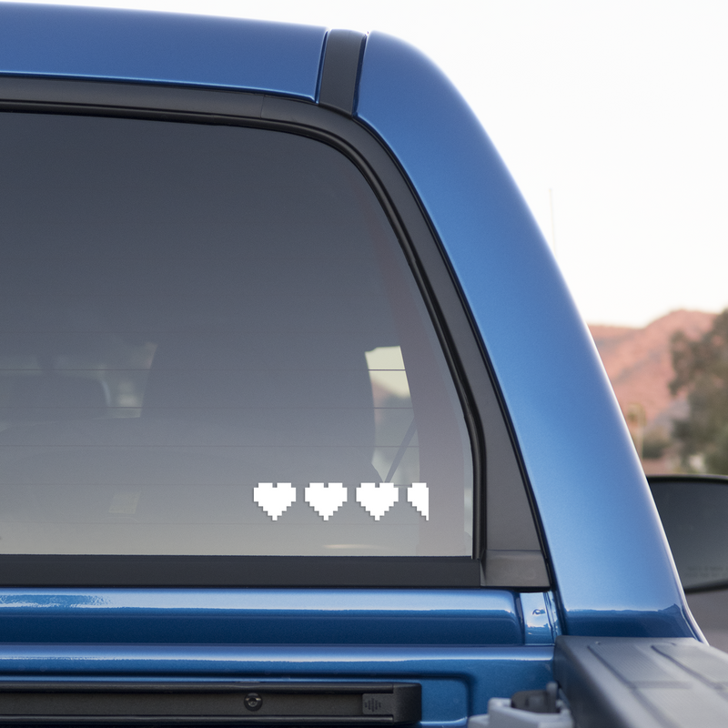 3 1/2 8-bit Hearts Sticker for Cars and Trucks - Whipps Sticker Co.