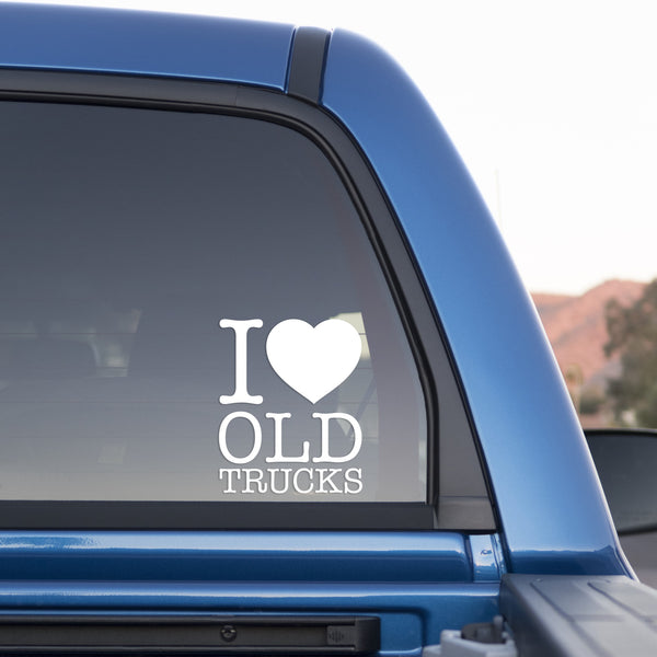 I Love Old Trucks 5-Inch Sticker for Cars and Trucks