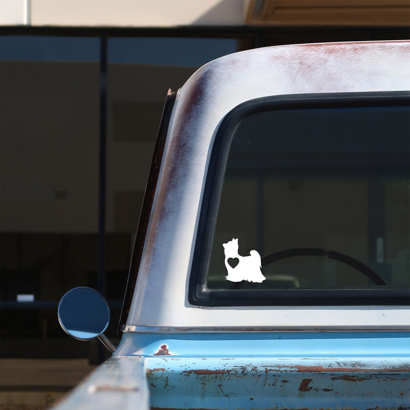 yorkshire terrier love sticker on a 1967 c10