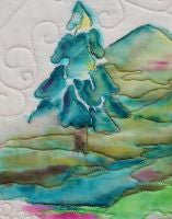 closeup of ink based landscape on fabric