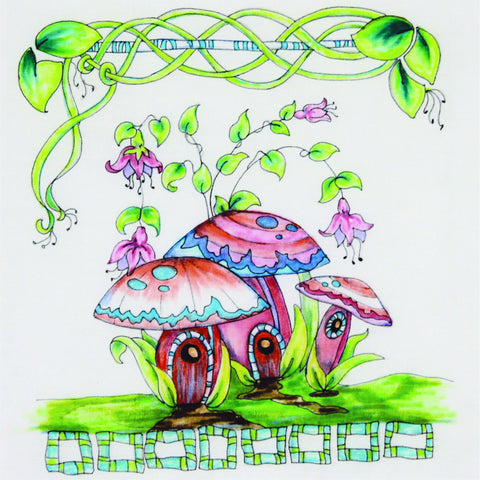 line drawing of three mushrooms dressed in designs ready for coloring