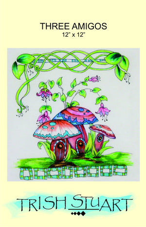 pattern cover for 3 whimsical mushrooms colored in a bright happy design