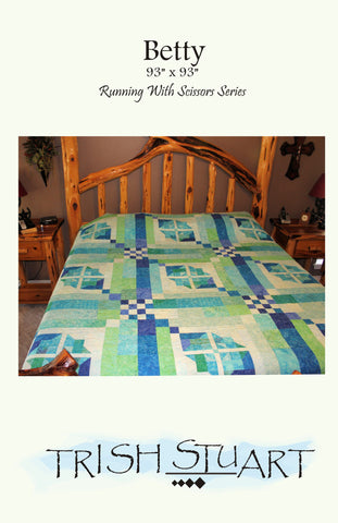 Diagonal chains intersected by 16 patches and framed are displayed on this queen size quilt on a bed to show what it looks like in real life.