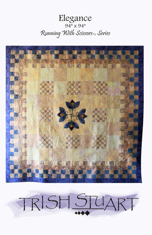 pattern cover of queen size quilt, center embroidery surrounded by 16 patches in two different sizes. Peach and Periwinkle
