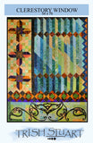 pattern cover shows the strip pieced quilt and scroll applique mimicing a stained glass church window