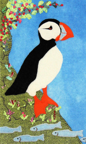 Puffin Fishing – Wool Applique