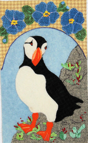 Puffin Forget-Me-Not – Wool Applique