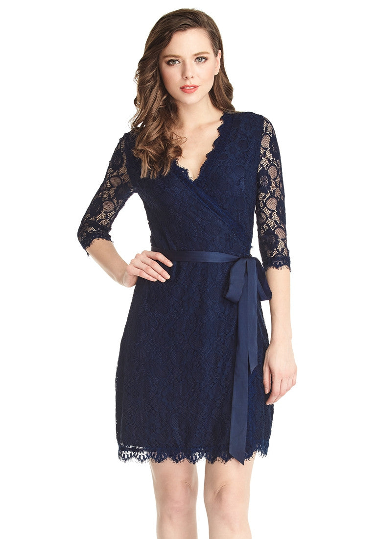 Navy blue lace overlay v neck belted wrap dress grapent navy blue lace overlay v neck belted wrap dress sciox Image collections