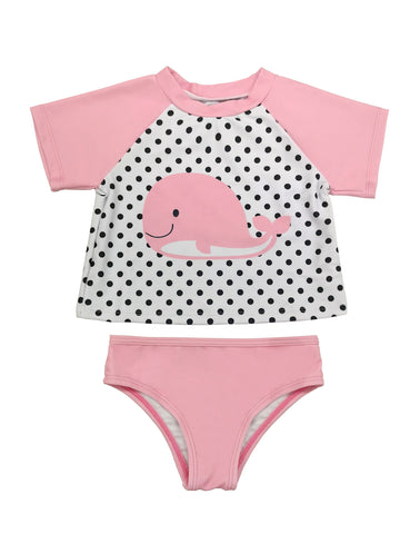 Pattern-Print Polka Dot Baby Rash Guard Set