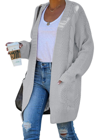 Women's Open-Front Oversized Cable Knit Cardigan