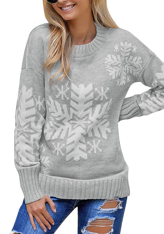 Crewneck Snowflake Pullover Long Sleeve Christmas Sweater Tops