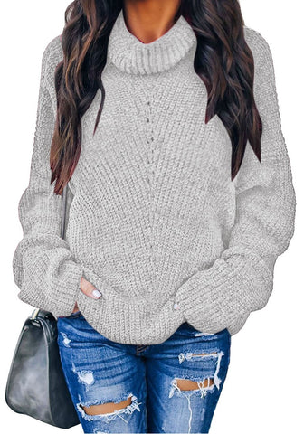 Casual Turtleneck Long Sleeves Velvet Knit Sweater Pullover Tops