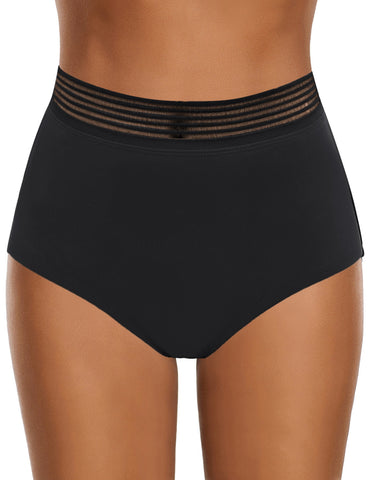 Women's Elastic Panel High-Waist Swim Bottom