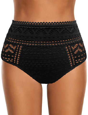 Women's Crochet Lace High-Waist BIkini Bottom