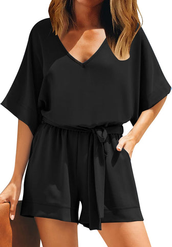 Casual Belted Short Sleeves Romper Keyhole Back One-Piece Jumpsuit