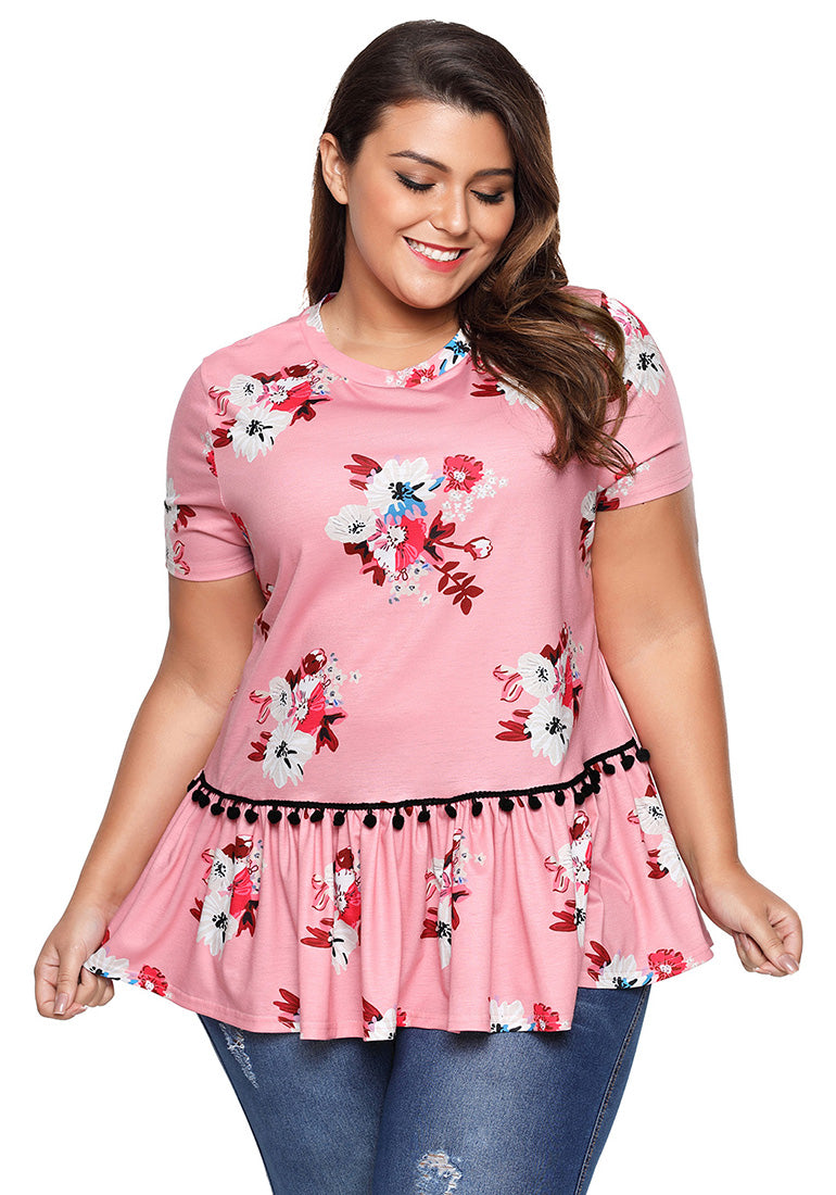 686879b5204 Plus Size Pink Floral Print Ruffle Short Sleeve Top Blouse Shirt – Grapent