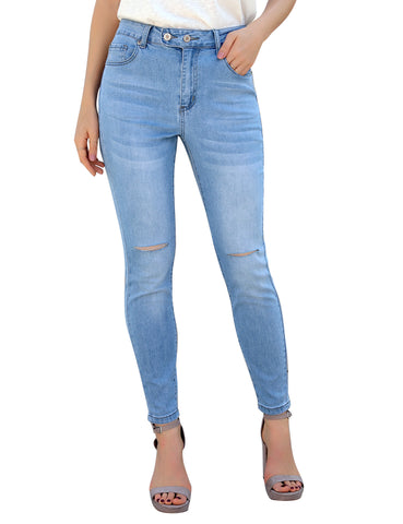 Women's High-Waist Ripped Button-and-Zipper Skinny Denim Jeans