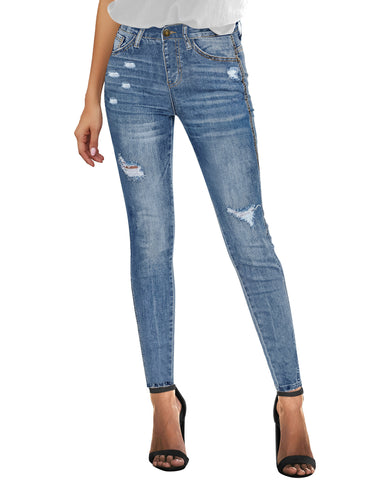 Women's High-Rise Ripped Skinny Denim Jeans