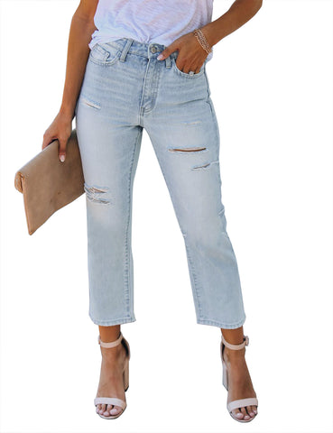 Women's Casual High Waist Distressed Stretchy Denim Jeans