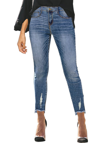 Women's Mid-Waist Raw Hem Ripped Cropped Denim Jeans